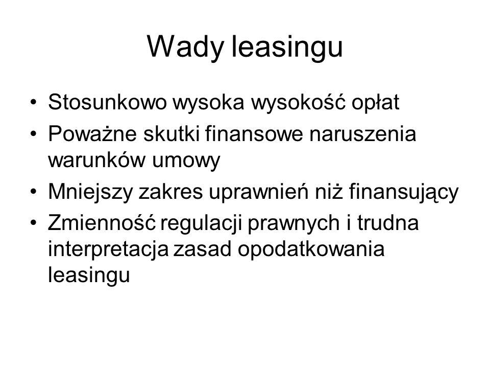 Wady leasingu Stosunkowo wysoka wysokość opłat Poważne skutki finansowe naruszenia warunków umowy Mniejszy zakres uprawnień niż finansujący Zmienność