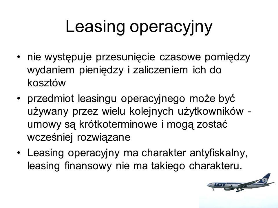 Leasing finansowy i operacyjny samochodu-wydatki klienta Samochód osobowy o wartości 80.000zł Kwota udziału własnego to 8.000zł Umowa podpisana na 36 miesięcy przyszły koszt końcowego wykupu 80zł Raty leasingowe na poziomie 2.84%, czyli 2.269,57 zł W obu przypadkach: - wydatki na raty leasingowe wyniosą 81.704,52 zł - wydatki na leasing 89.784,52 zł - podatek VAT 20.650,44 Różnica polega na płatności VAT.