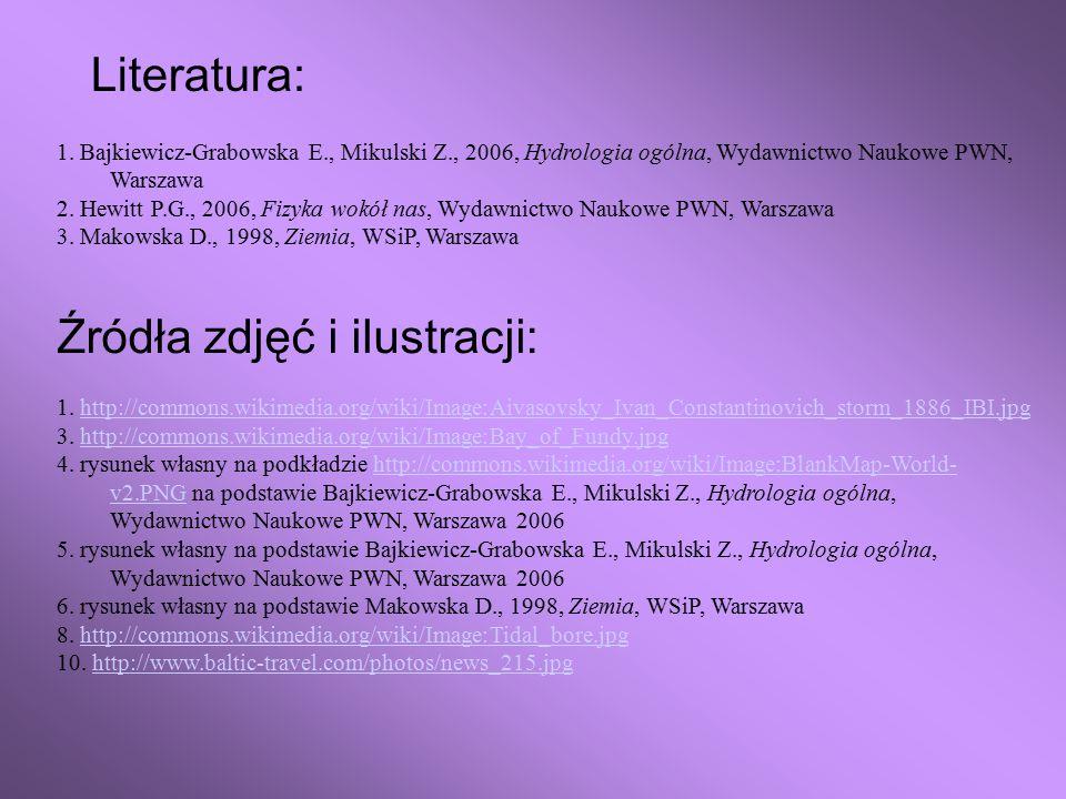 Literatura: 1. Bajkiewicz-Grabowska E., Mikulski Z., 2006, Hydrologia ogólna, Wydawnictwo Naukowe PWN, Warszawa 2. Hewitt P.G., 2006, Fizyka wokół nas