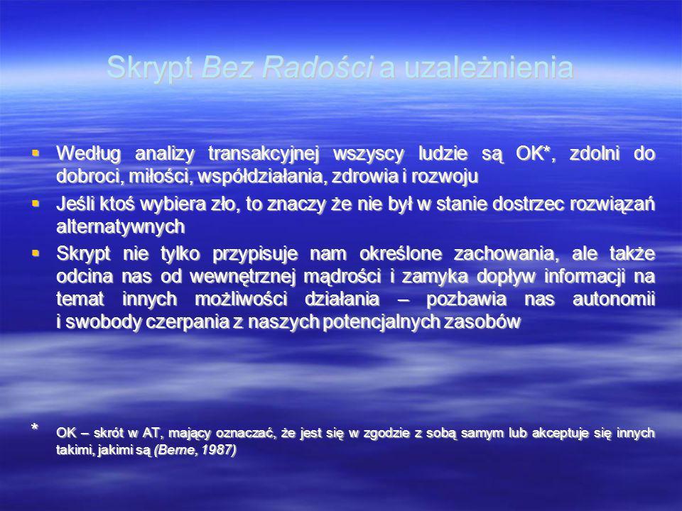 Skrypt Bez Radości a uzależnienia  Według analizy transakcyjnej wszyscy ludzie są OK*, zdolni do dobroci, miłości, współdziałania, zdrowia i rozwoju