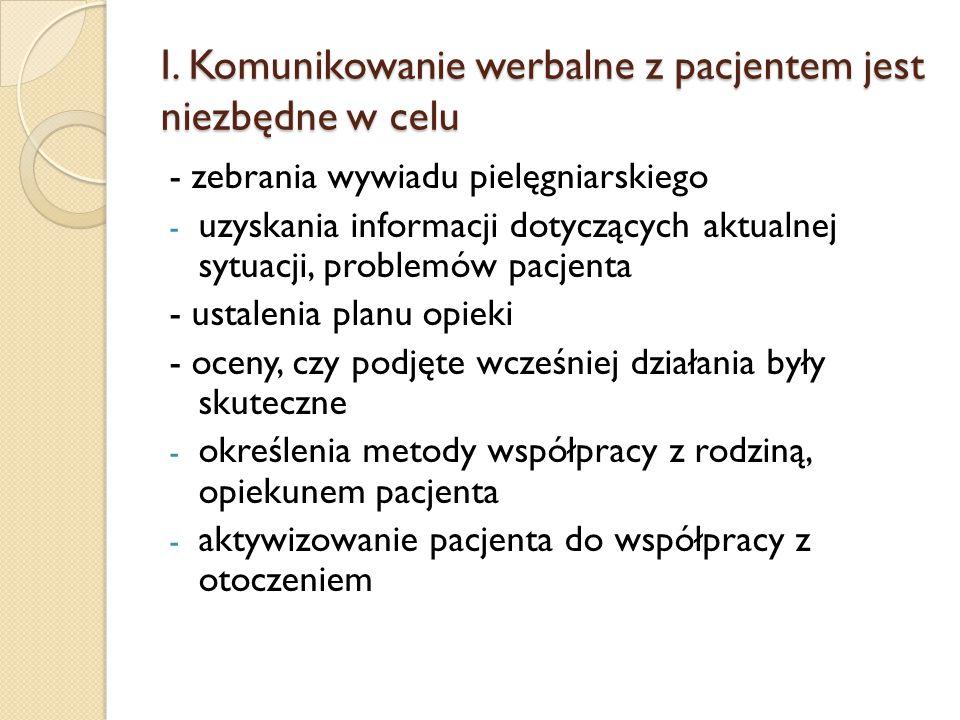 I. Komunikowanie werbalne z pacjentem jest niezbędne w celu - zebrania wywiadu pielęgniarskiego - uzyskania informacji dotyczących aktualnej sytuacji,