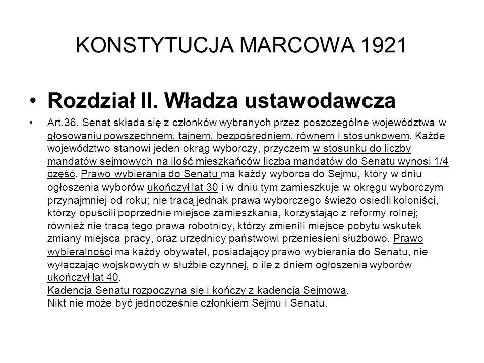 KONSTYTUCJA MARCOWA 1921 Rozdział II.Władza ustawodawcza Art.36.