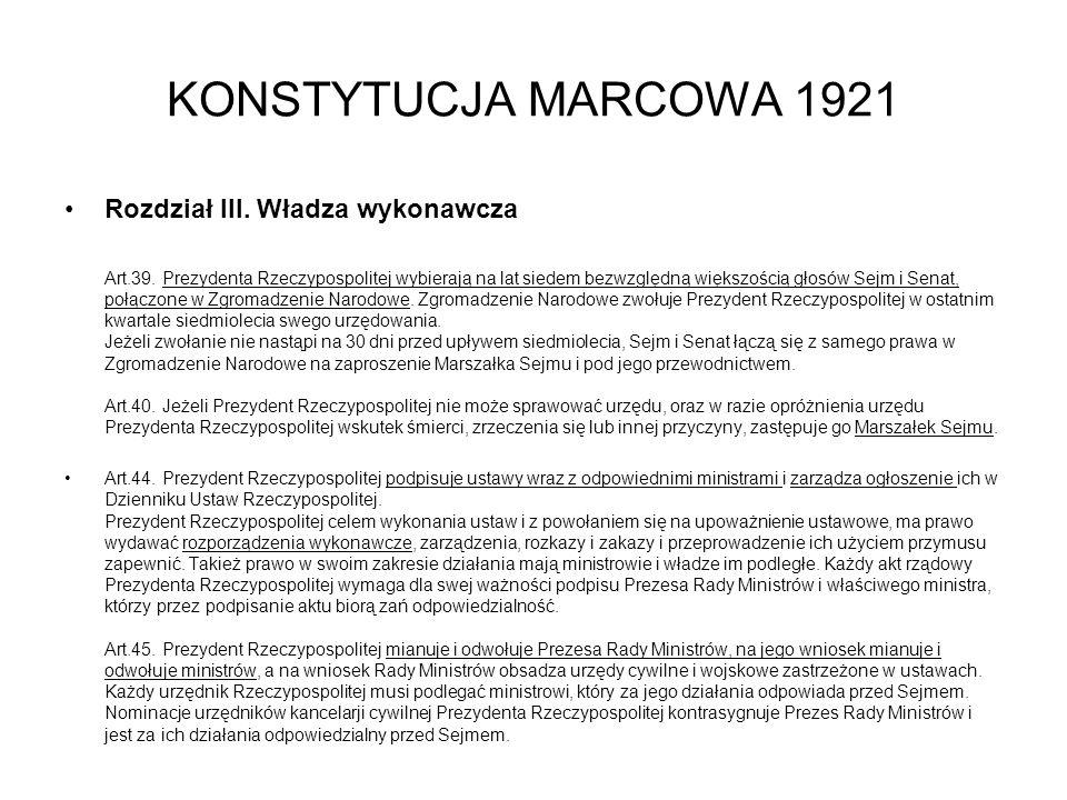 KONSTYTUCJA MARCOWA 1921 Rozdział III.Władza wykonawcza Art.39.