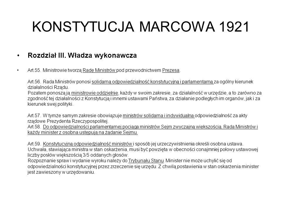 KONSTYTUCJA MARCOWA 1921 Rozdział III.Władza wykonawcza Art.55.