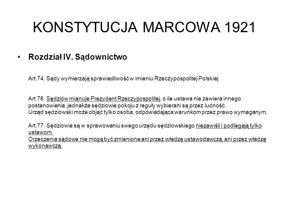 KONSTYTUCJA MARCOWA 1921 Rozdział IV.Sądownictwo Art.74.