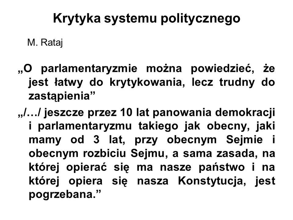 """Krytyka systemu politycznego """"O parlamentaryzmie można powiedzieć, że jest łatwy do krytykowania, lecz trudny do zastąpienia """"/…/ jeszcze przez 10 lat panowania demokracji i parlamentaryzmu takiego jak obecny, jaki mamy od 3 lat, przy obecnym Sejmie i obecnym rozbiciu Sejmu, a sama zasada, na której opierać się ma nasze państwo i na której opiera się nasza Konstytucja, jest pogrzebana. M."""
