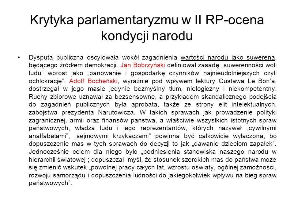 Krytyka parlamentaryzmu w II RP-ocena kondycji narodu Dysputa publiczna oscylowała wokół zagadnienia wartości narodu jako suwerena, będącego źródłem demokracji.