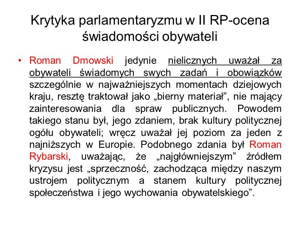 """Krytyka parlamentaryzmu w II RP-ocena świadomości obywateli Roman Dmowski jedynie nielicznych uważał za obywateli świadomych swych zadań i obowiązków szczególnie w najważniejszych momentach dziejowych kraju, resztę traktował jako """"bierny materiał , nie mający zainteresowania dla spraw publicznych."""