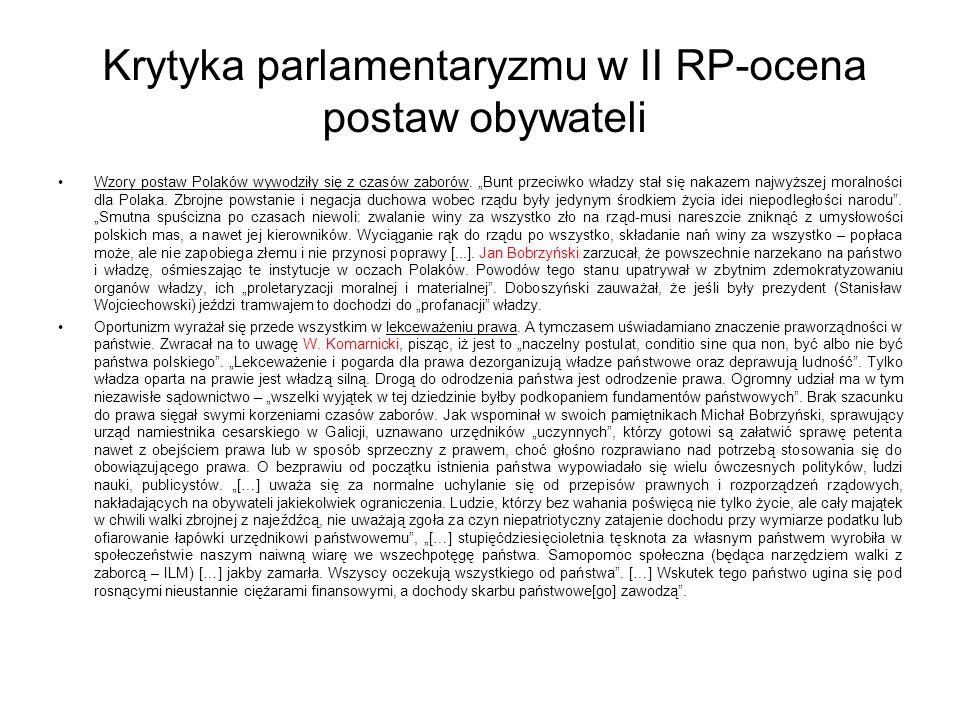 Krytyka parlamentaryzmu w II RP-ocena postaw obywateli Wzory postaw Polaków wywodziły się z czasów zaborów.