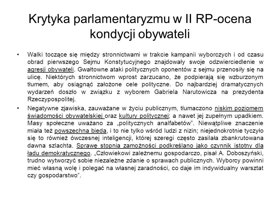 Krytyka parlamentaryzmu w II RP-ocena kondycji obywateli Walki toczące się między stronnictwami w trakcie kampanii wyborczych i od czasu obrad pierwszego Sejmu Konstytucyjnego znajdowały swoje odzwierciedlenie w agresji obywateli.