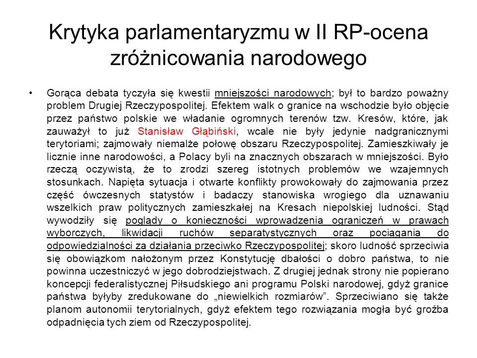 Krytyka parlamentaryzmu w II RP-ocena zróżnicowania narodowego Gorąca debata tyczyła się kwestii mniejszości narodowych; był to bardzo poważny problem Drugiej Rzeczypospolitej.