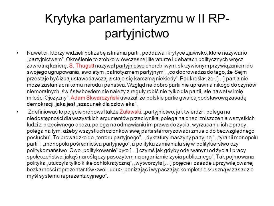 """Krytyka parlamentaryzmu w II RP- partyjnictwo Nawet ci, którzy widzieli potrzebę istnienia partii, poddawali krytyce zjawisko, które nazywano """"partyjnictwem ."""