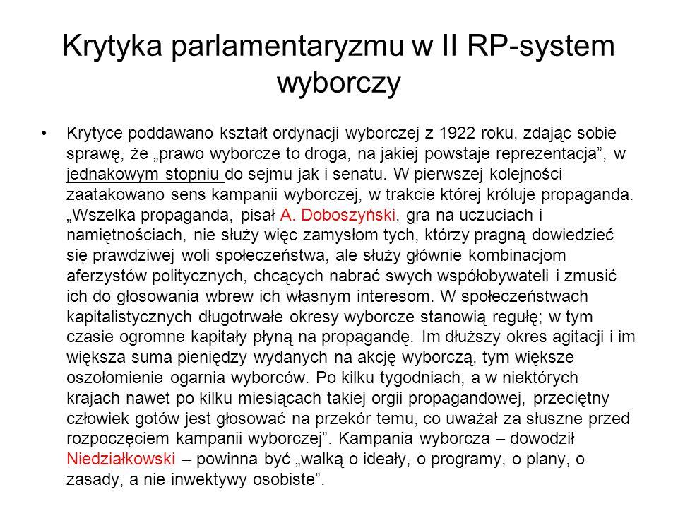 """Krytyka parlamentaryzmu w II RP-system wyborczy Krytyce poddawano kształt ordynacji wyborczej z 1922 roku, zdając sobie sprawę, że """"prawo wyborcze to droga, na jakiej powstaje reprezentacja , w jednakowym stopniu do sejmu jak i senatu."""