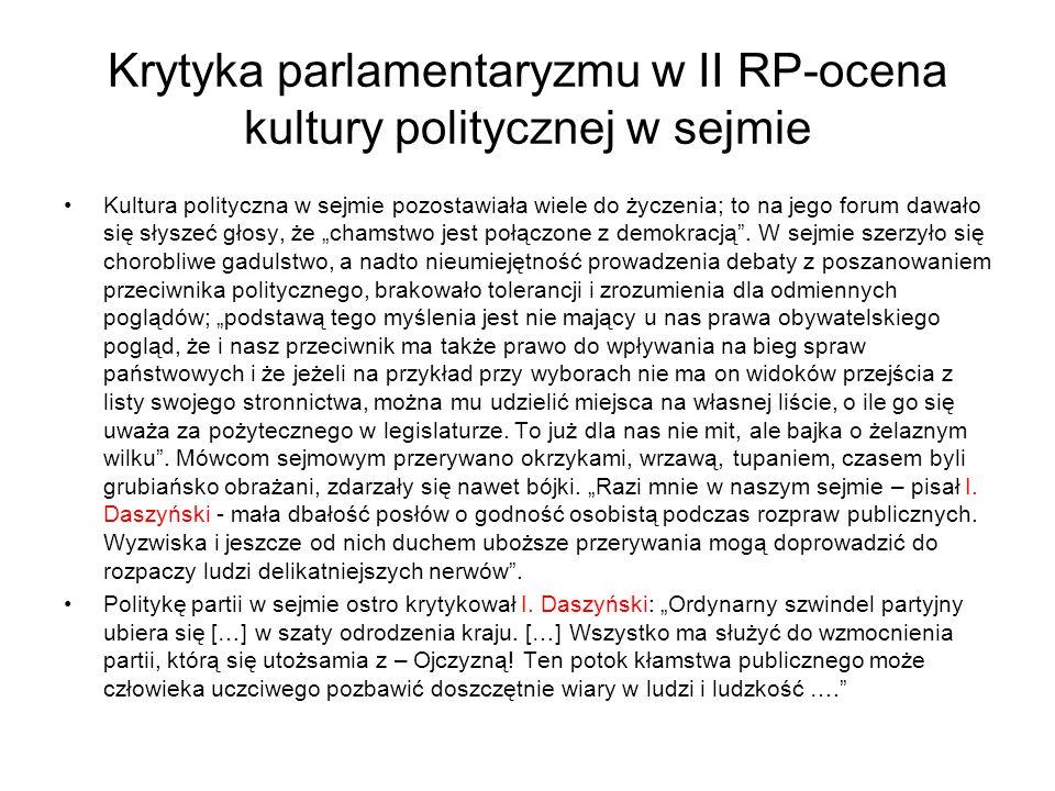 """Krytyka parlamentaryzmu w II RP-ocena kultury politycznej w sejmie Kultura polityczna w sejmie pozostawiała wiele do życzenia; to na jego forum dawało się słyszeć głosy, że """"chamstwo jest połączone z demokracją ."""
