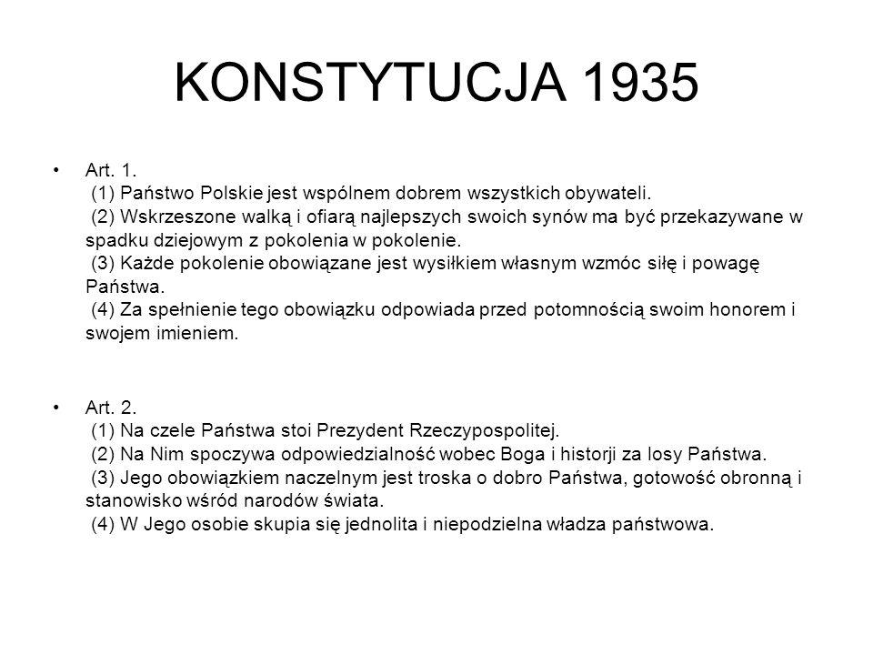 KONSTYTUCJA 1935 Art.1. (1) Państwo Polskie jest wspólnem dobrem wszystkich obywateli.