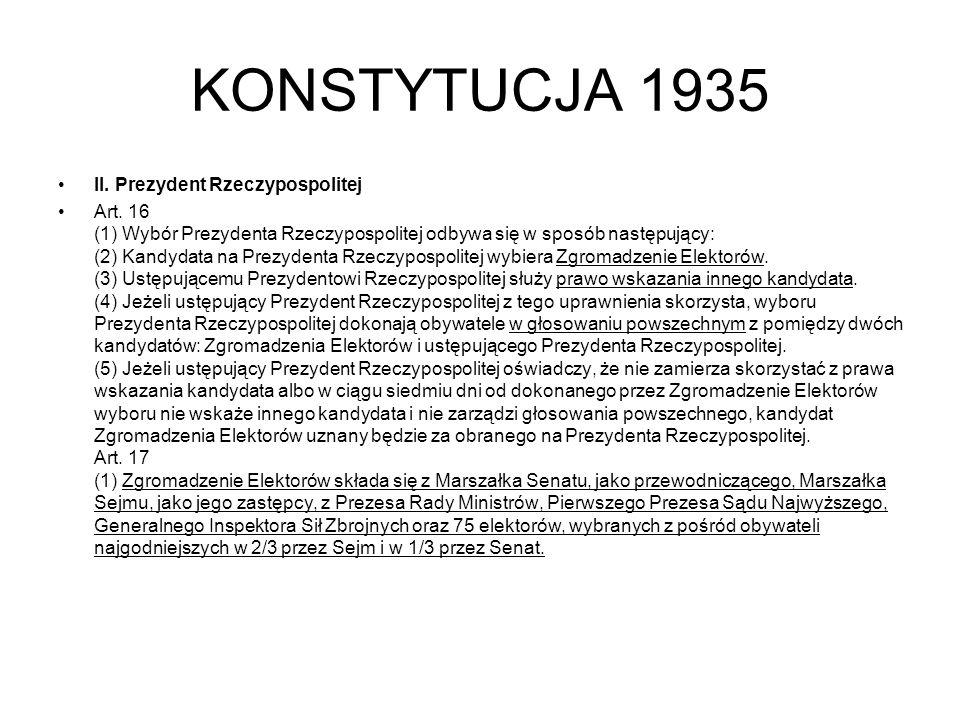 KONSTYTUCJA 1935 II.Prezydent Rzeczypospolitej Art.