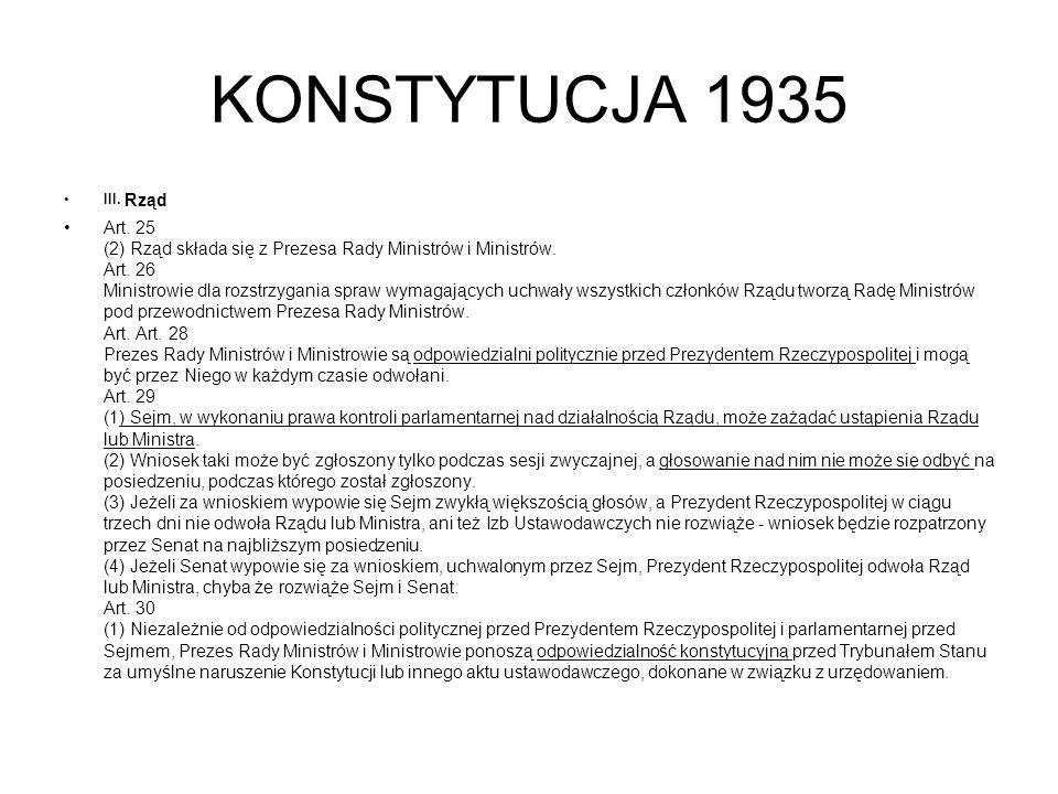 KONSTYTUCJA 1935 III.Rząd Art. 25 (2) Rząd składa się z Prezesa Rady Ministrów i Ministrów.