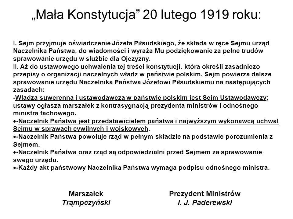 """""""Mała Konstytucja 20 lutego 1919 roku: I."""