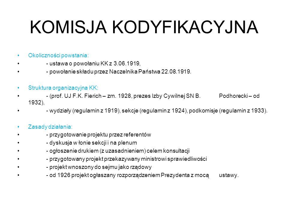 KOMISJA KODYFIKACYJNA Okoliczności powstania: - ustawa o powołaniu KK z 3.06.1919, - powołanie składu przez Naczelnika Państwa 22.08.1919.