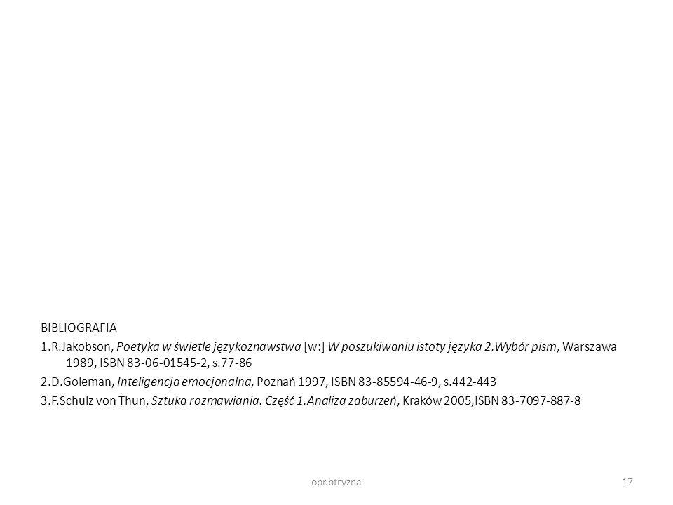 BIBLIOGRAFIA 1.R.Jakobson, Poetyka w świetle językoznawstwa [w:] W poszukiwaniu istoty języka 2.Wybór pism, Warszawa 1989, ISBN 83-06-01545-2, s.77-86