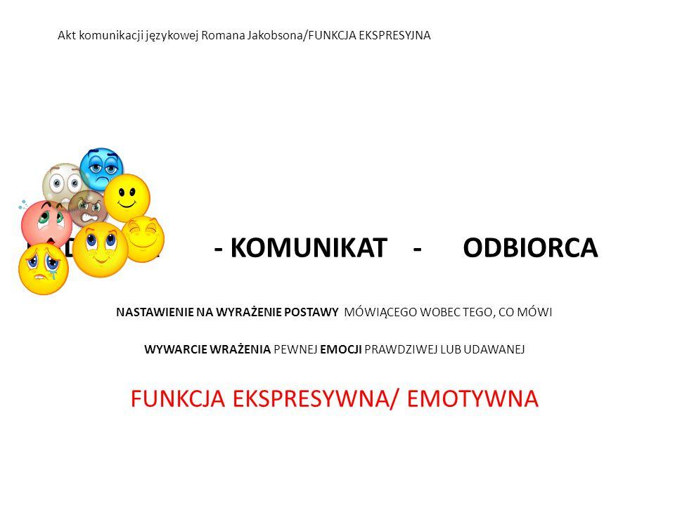 BIBLIOGRAFIA 1.R.Jakobson, Poetyka w świetle językoznawstwa [w:] W poszukiwaniu istoty języka 2.Wybór pism, Warszawa 1989, ISBN 83-06-01545-2, s.77-86 2.D.Goleman, Inteligencja emocjonalna, Poznań 1997, ISBN 83-85594-46-9, s.442-443 3.F.Schulz von Thun, Sztuka rozmawiania.