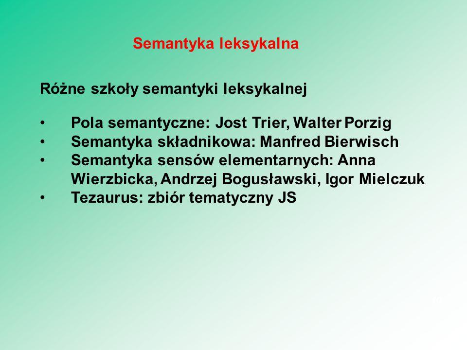 Różne szkoły semantyki leksykalnej Pola semantyczne: Jost Trier, Walter Porzig Semantyka składnikowa: Manfred Bierwisch Semantyka sensów elementarnych