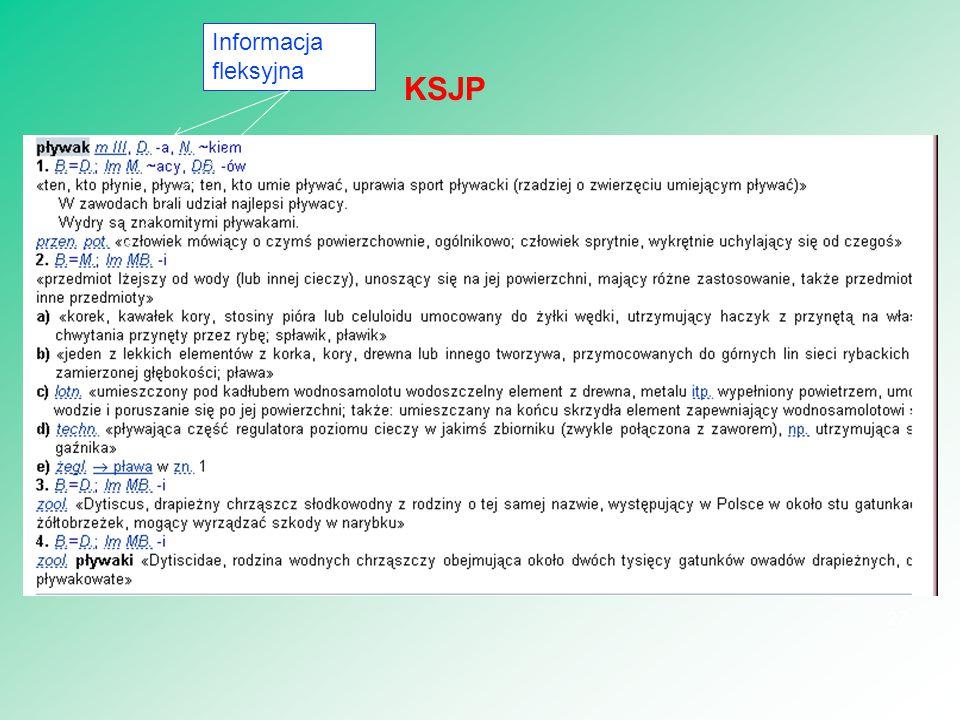 27 KSJP Informacja fleksyjna