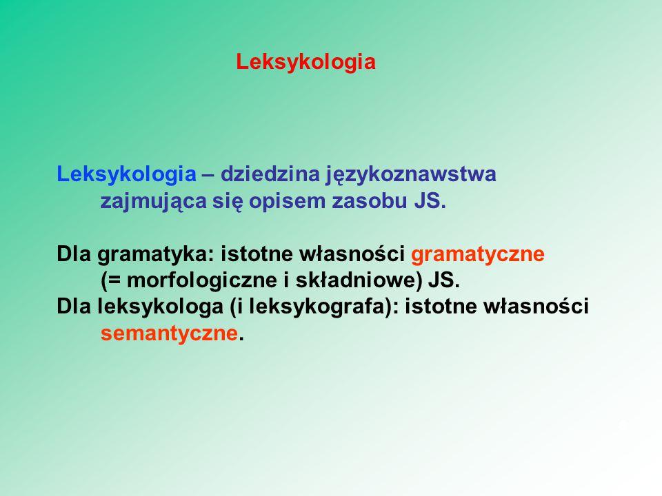 Leksykologia – dziedzina językoznawstwa zajmująca się opisem zasobu JS. Dla gramatyka: istotne własności gramatyczne (= morfologiczne i składniowe) JS