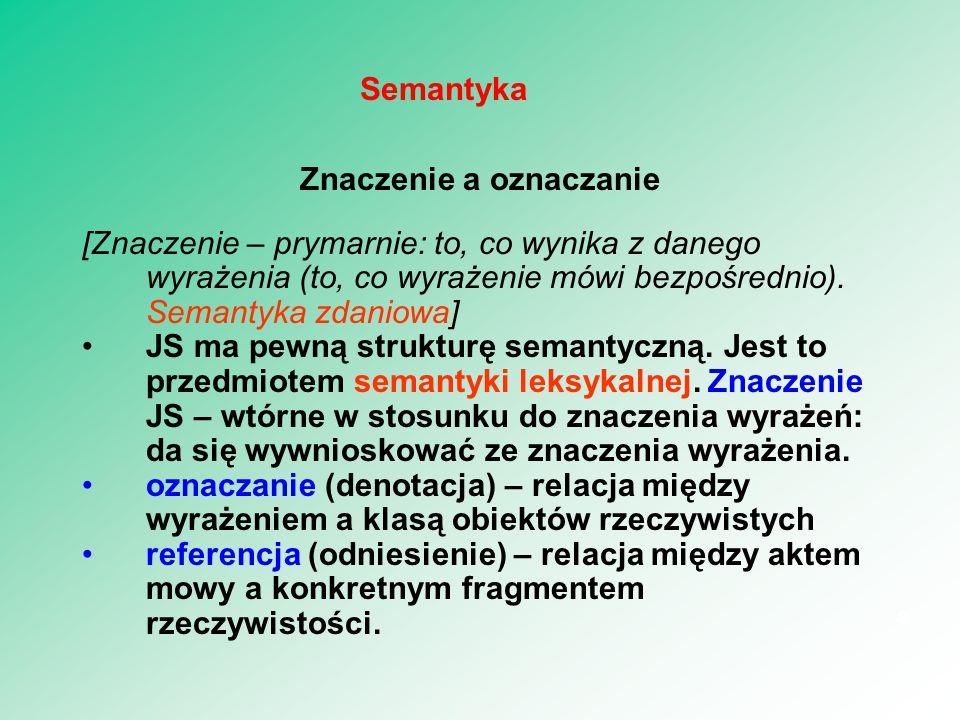 Znaczenie a oznaczanie [Znaczenie – prymarnie: to, co wynika z danego wyrażenia (to, co wyrażenie mówi bezpośrednio). Semantyka zdaniowa] JS ma pewną