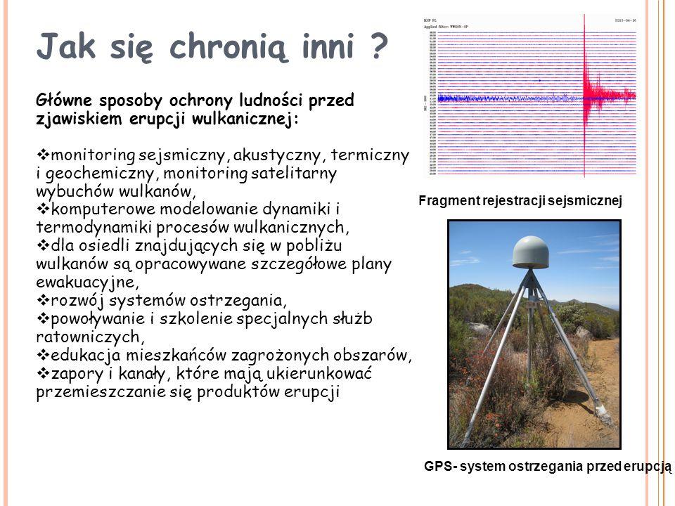 Fragment rejestracji sejsmicznej GPS- system ostrzegania przed erupcją Główne sposoby ochrony ludności przed zjawiskiem erupcji wulkanicznej:  monito