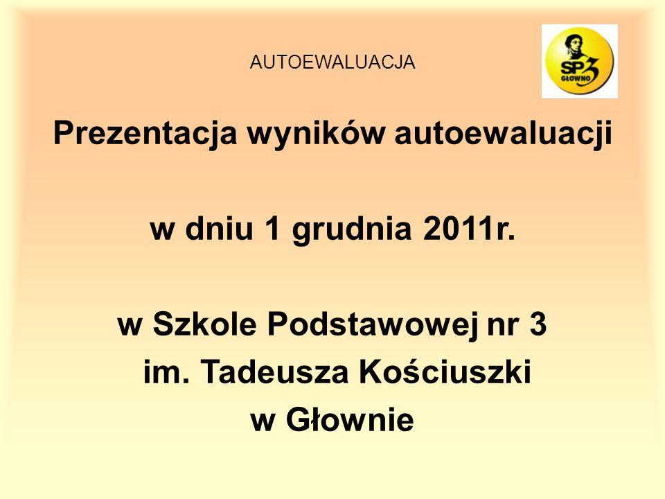 AUTOEWALUACJA Prezentacja wyników autoewaluacji w dniu 1 grudnia 2011r.