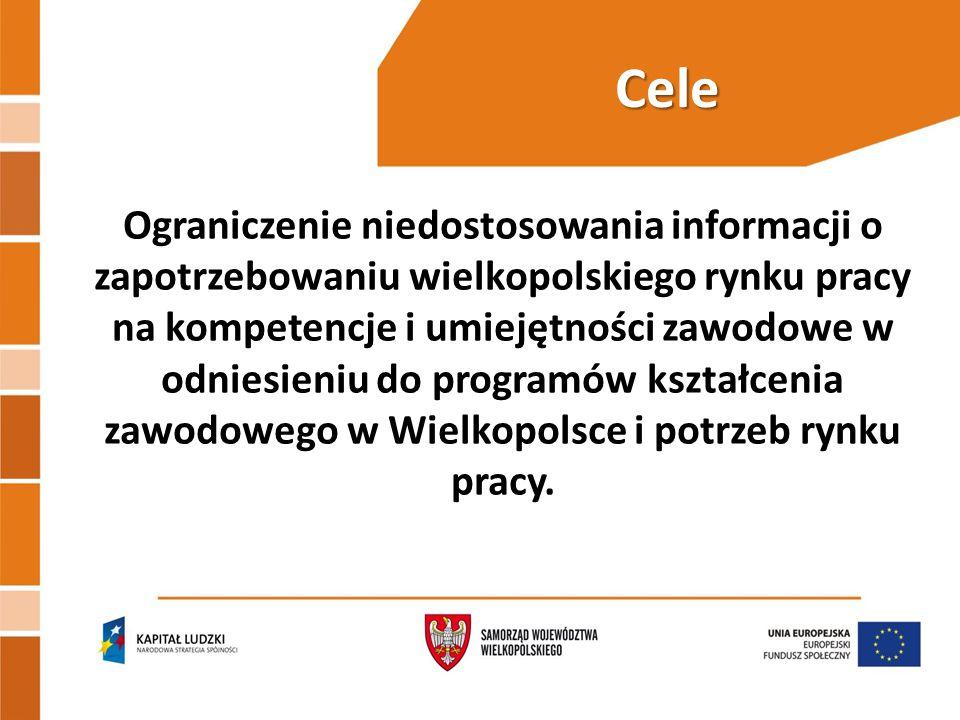 Cele Ograniczenie niedostosowania informacji o zapotrzebowaniu wielkopolskiego rynku pracy na kompetencje i umiejętności zawodowe w odniesieniu do programów kształcenia zawodowego w Wielkopolsce i potrzeb rynku pracy.