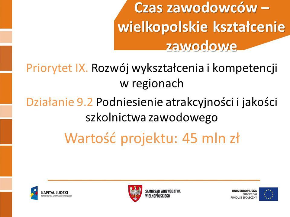Czas zawodowców – wielkopolskie kształcenie zawodowe Priorytet IX.