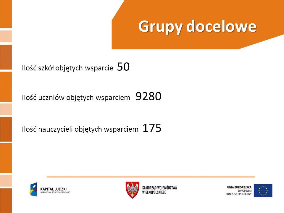 Grupy docelowe Ilość szkół objętych wsparcie 50 Ilość uczniów objętych wsparciem 9280 Ilość nauczycieli objętych wsparciem 175