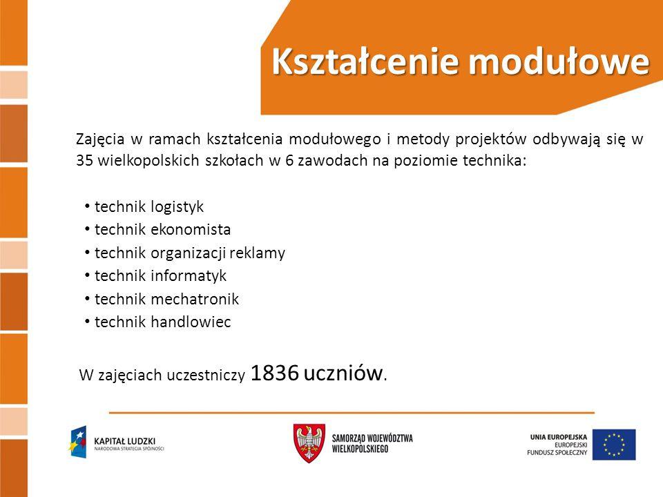 Kształcenie modułowe Zajęcia w ramach kształcenia modułowego i metody projektów odbywają się w 35 wielkopolskich szkołach w 6 zawodach na poziomie technika: technik logistyk technik ekonomista technik organizacji reklamy technik informatyk technik mechatronik technik handlowiec W zajęciach uczestniczy 1836 uczniów.