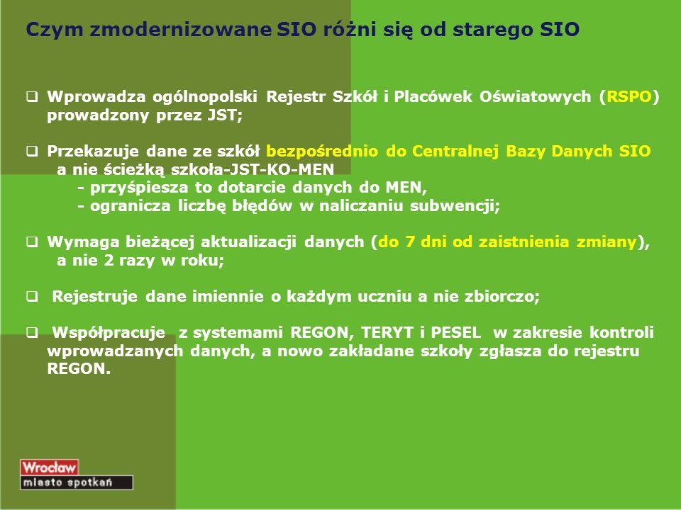 Czym zmodernizowane SIO różni się od starego SIO  Wprowadza ogólnopolski Rejestr Szkół i Placówek Oświatowych (RSPO) prowadzony przez JST;  Przekazu