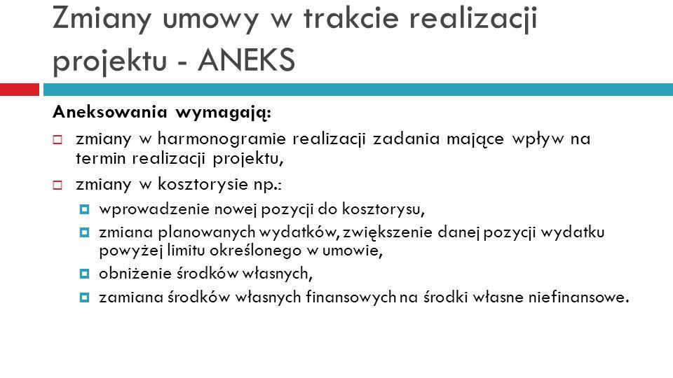Zmiany umowy w trakcie realizacji projektu - ANEKS Aneksowania wymagają:  zmiany w harmonogramie realizacji zadania mające wpływ na termin realizacji