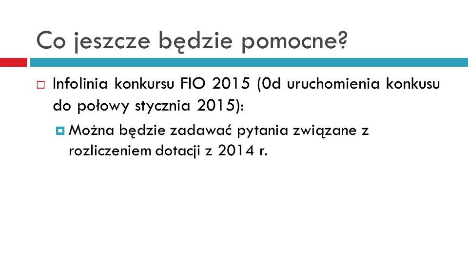 Co jeszcze będzie pomocne?  Infolinia konkursu FIO 2015 (0d uruchomienia konkusu do połowy stycznia 2015):  Można będzie zadawać pytania związane z