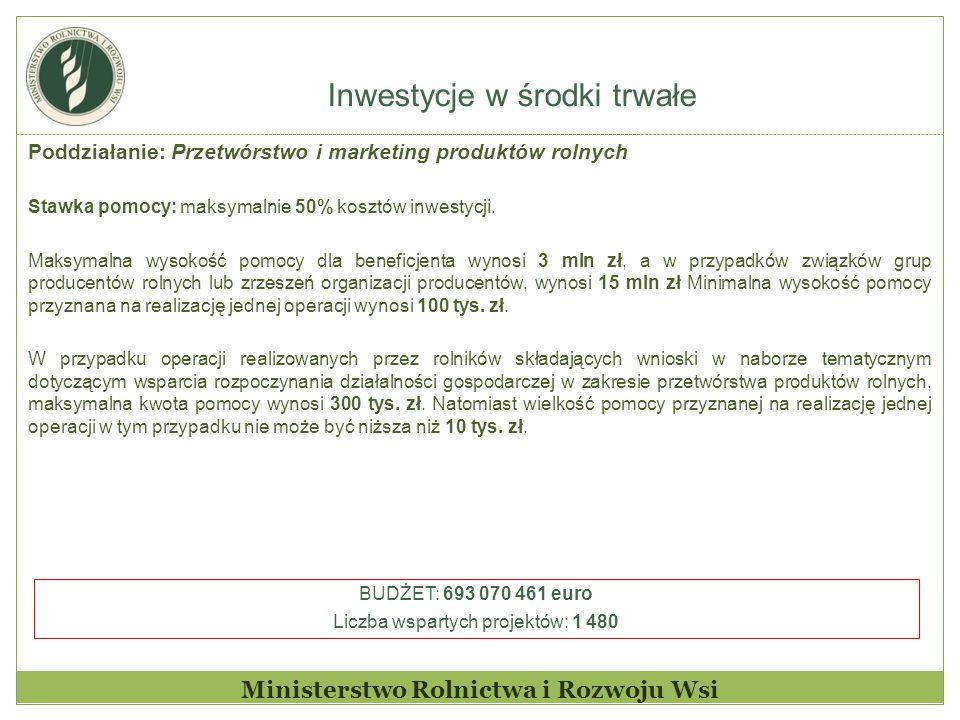 Inwestycje w środki trwałe Ministerstwo Rolnictwa i Rozwoju Wsi Poddziałanie: Przetwórstwo i marketing produktów rolnych Stawka pomocy: maksymalnie 50% kosztów inwestycji.