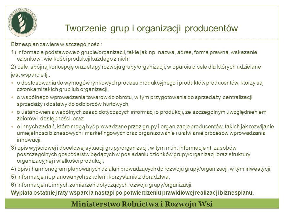 Tworzenie grup i organizacji producentów Ministerstwo Rolnictwa i Rozwoju Wsi Biznesplan zawiera w szczególności: 1) informacje podstawowe o grupie/organizacji, takie jak np.