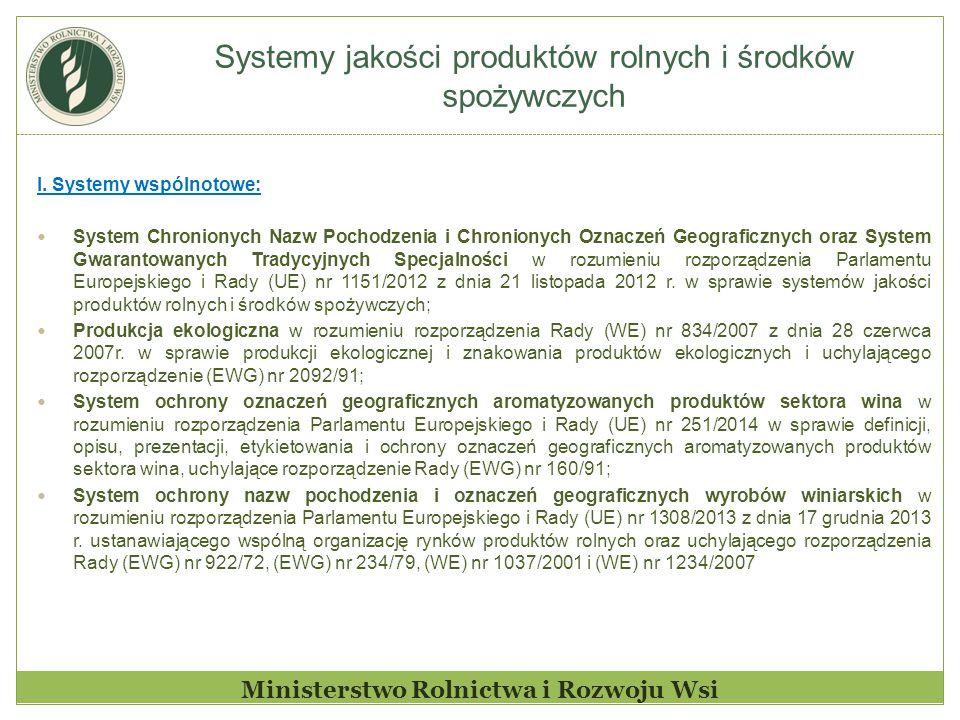 Systemy jakości produktów rolnych i środków spożywczych Ministerstwo Rolnictwa i Rozwoju Wsi I.