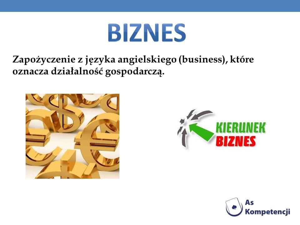 Zapożyczenie z języka angielskiego (business), które oznacza działalność gospodarczą.