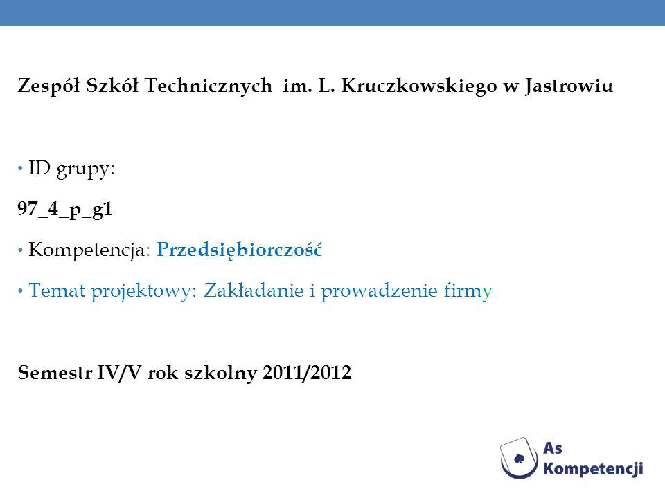 Zespół Szkół Technicznych im. L. Kruczkowskiego w Jastrowiu ID grupy: 97_4_p_g1 Kompetencja: Przedsiębiorczość Temat projektowy: Zakładanie i prowadze