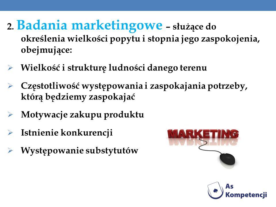 2. Badania marketingowe – służące do określenia wielkości popytu i stopnia jego zaspokojenia, obejmujące:  Wielkość i strukturę ludności danego teren