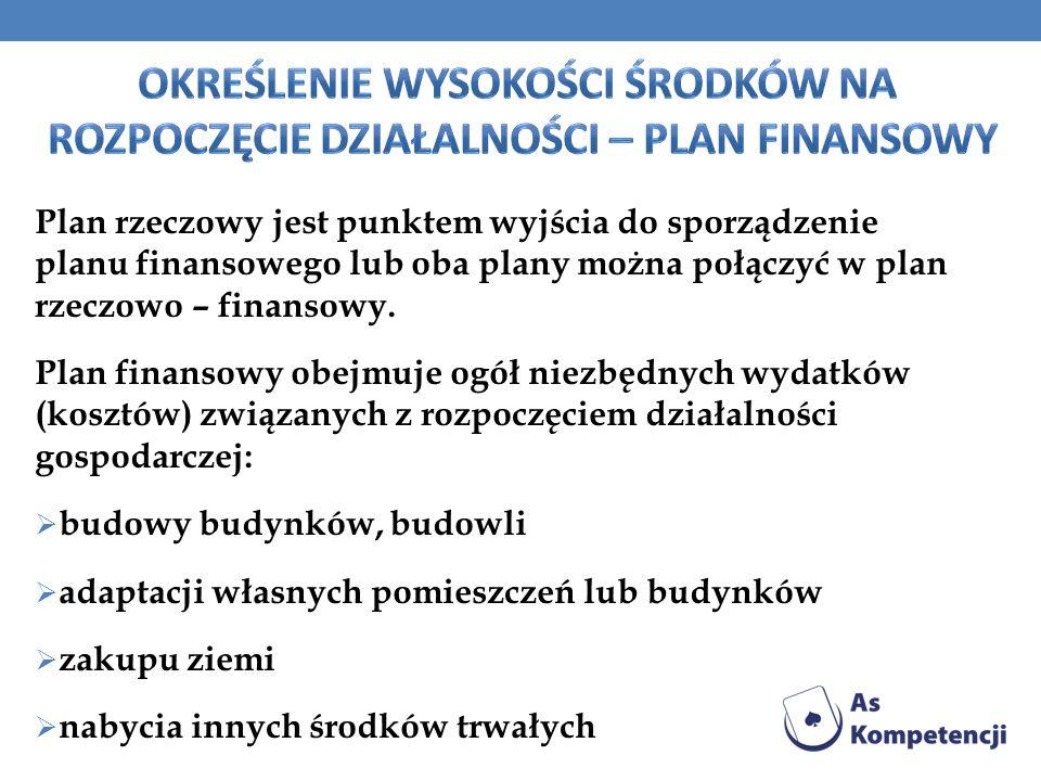 Plan rzeczowy jest punktem wyjścia do sporządzenie planu finansowego lub oba plany można połączyć w plan rzeczowo – finansowy. Plan finansowy obejmuje
