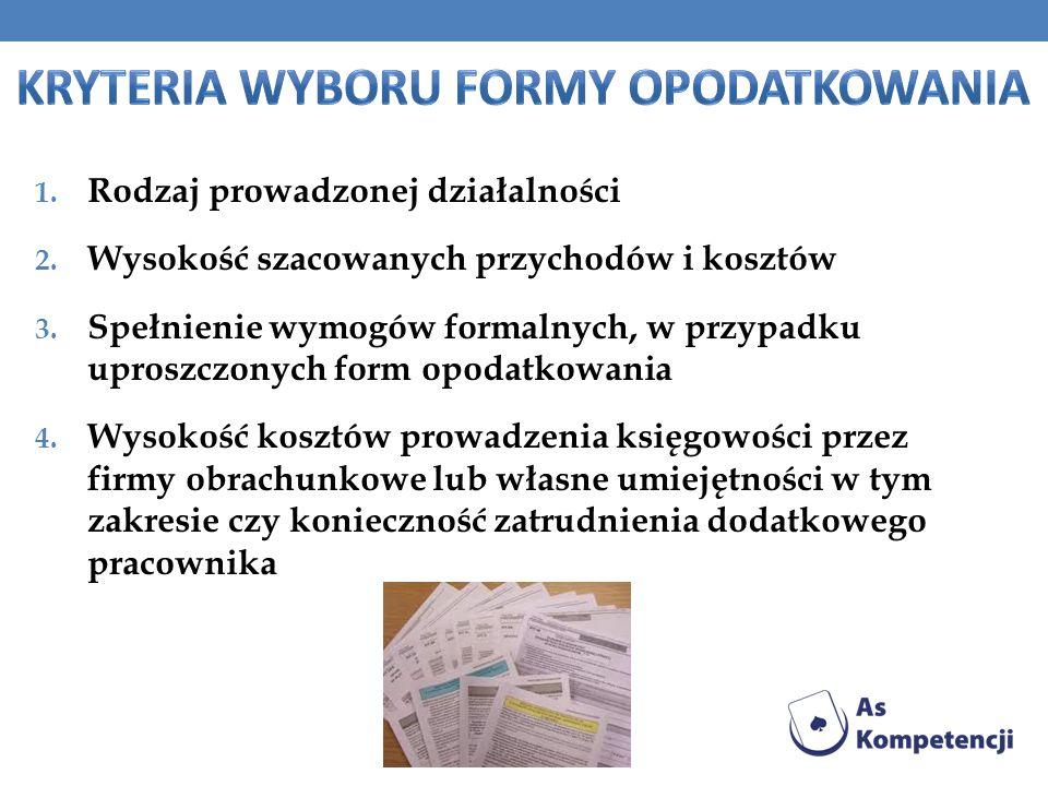 1. Rodzaj prowadzonej działalności 2. Wysokość szacowanych przychodów i kosztów 3. Spełnienie wymogów formalnych, w przypadku uproszczonych form opoda
