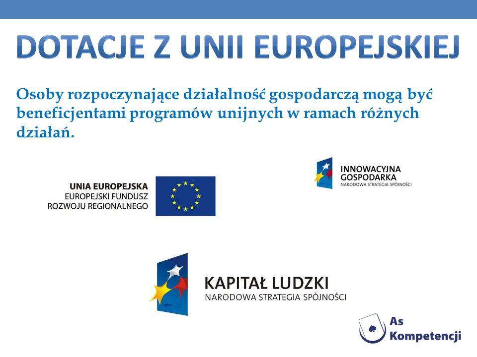 Osoby rozpoczynające działalność gospodarczą mogą być beneficjentami programów unijnych w ramach różnych działań.