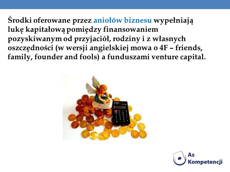 Środki oferowane przez aniołów biznesu wypełniają lukę kapitałową pomiędzy finansowaniem pozyskiwanym od przyjaciół, rodziny i z własnych oszczędności