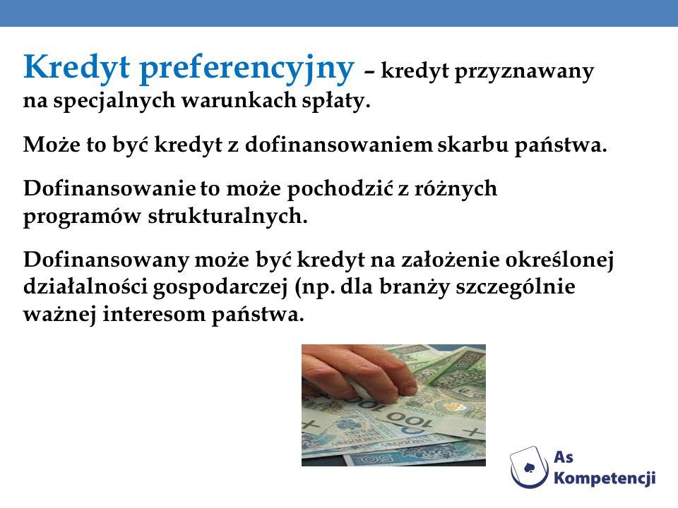 Kredyt preferencyjny – kredyt przyznawany na specjalnych warunkach spłaty. Może to być kredyt z dofinansowaniem skarbu państwa. Dofinansowanie to może