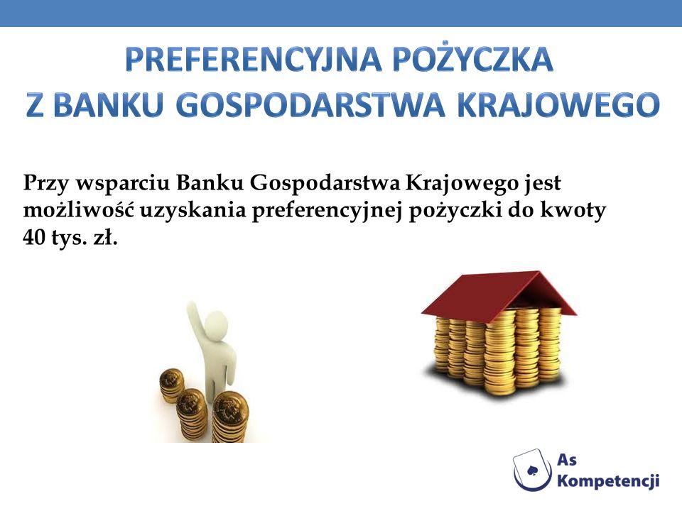 Przy wsparciu Banku Gospodarstwa Krajowego jest możliwość uzyskania preferencyjnej pożyczki do kwoty 40 tys. zł.